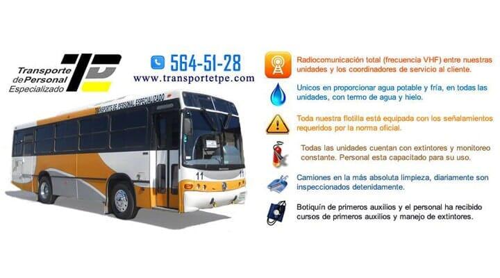 TRANSPORTE DE PERSONAL ESPECIALIZADO TPE - Beneficios