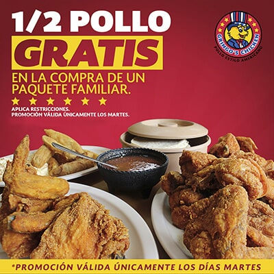 GRINGO'S CHICKEN - 1/2 pollo gratis