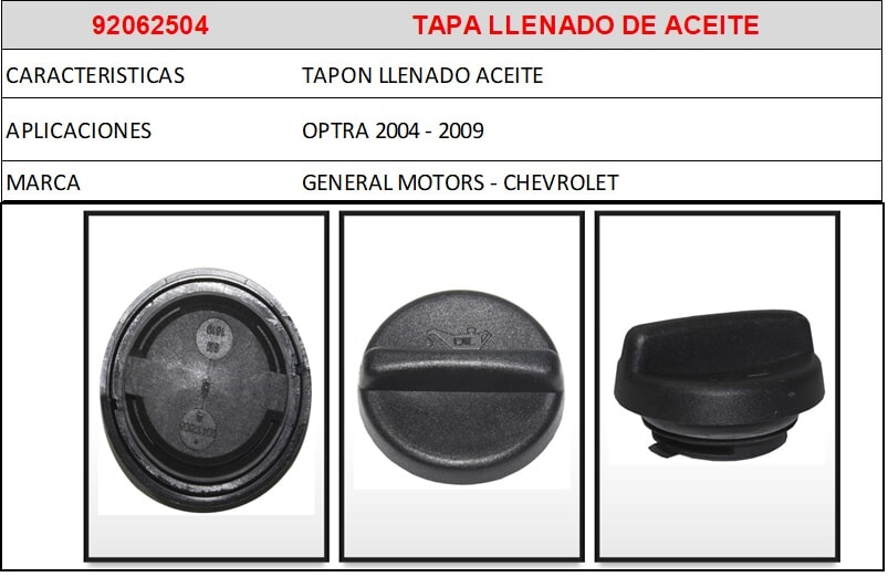 F1- 92062504 TAPA LLENADO DE ACEITE