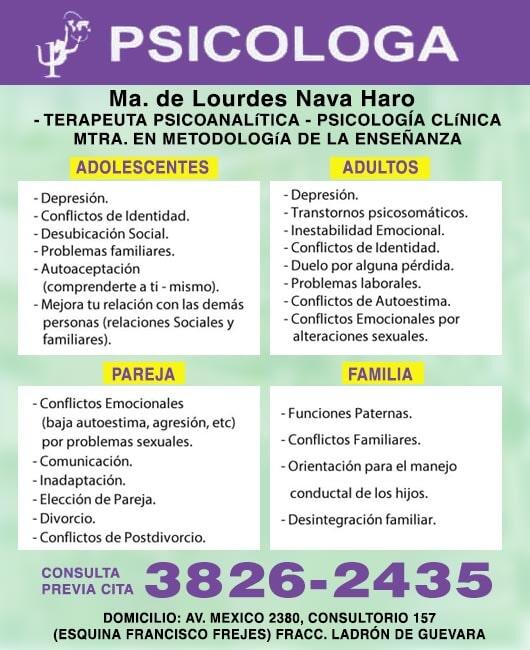 PSICÓLOGA MARÍA DE LOURDES NAVA HARO - SERVICIOS