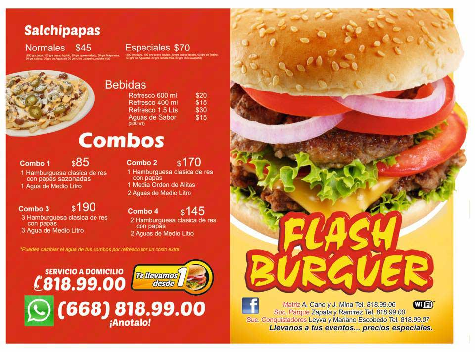 FLASH BURGER - menú hamburguesas