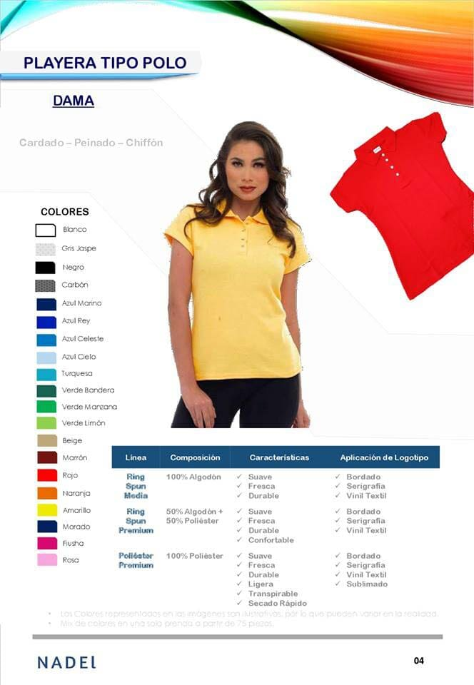 UNIFORMES NADEL - PLAYERA TIPO POLO DAMA
