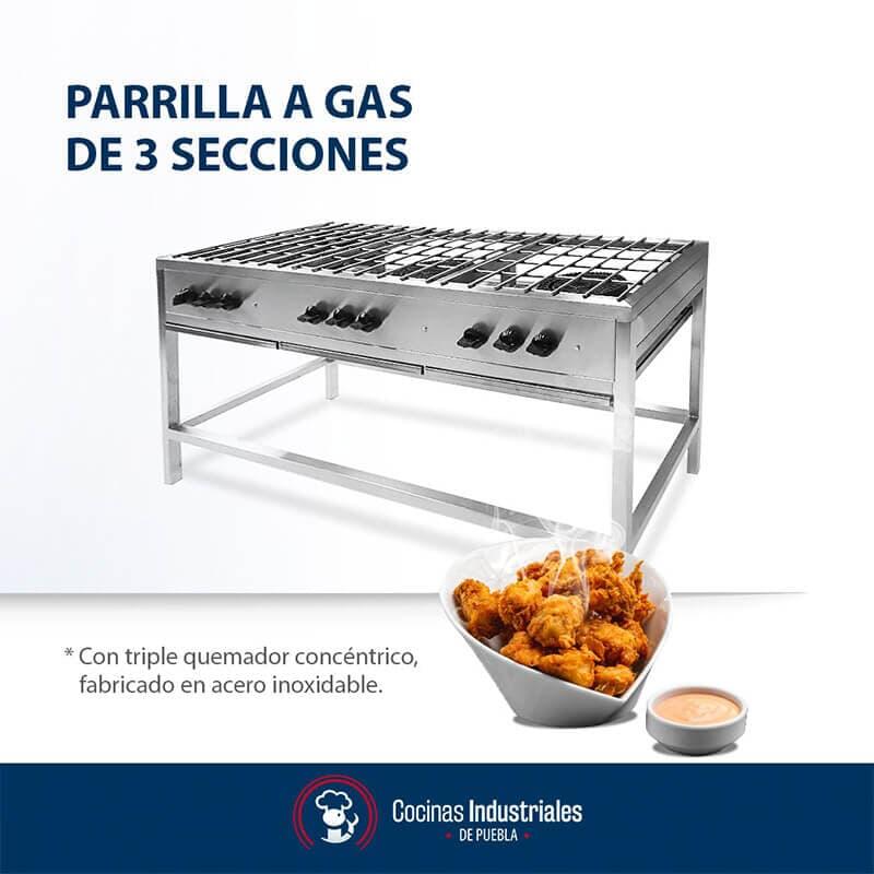 COCINAS INDUSTRIALES - PARRILLAS DE GAS DE 3 SECCIONES