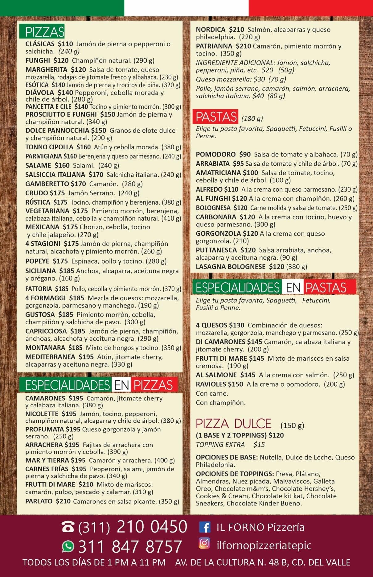 IL FORNO PIZZERÍA- pizzas